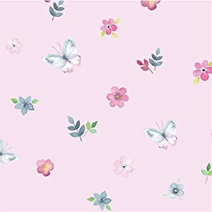 Decorative Pink Floral Butterfly Pattern Contact Paper Wallpaper Self Adhesive Floral Shelf Drawer Liner Cabinets Dresser Furniture Arts and Crafts Vinyl Sticker Wall Paper (17.7x197 Inches)