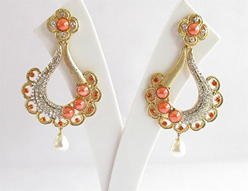 - Bollywood Bridal Wedding Gold Orange Earrings,Orange Chandelier Earrings,Traditional Ethnic Long Indian Earrings