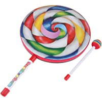 Prettyia 10-inch Lollipop Shape Drum with Rainbow Color Mallet Music Rhythm Instruments Kids Baby Children Playing Toy
