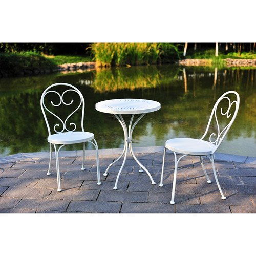 Small Space Scroll 3 Piece Chairs U0026 Table Outdoor Furniture Bistro Set,  White, Seats