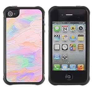 Suave TPU GEL Carcasa Funda Silicona Blando Estuche Caso de protección (para) Apple Iphone 4 / 4S / CECELL Phone case / / oil paint pink peach purple artist art /