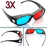 Big Bargain 3 Red Blue Cyan NVIDIA 3D VISION Myopia General Glasses by Big Bargain Store