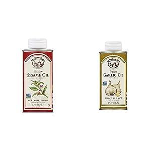 La Tourangelle, Toasted Sesame Oil, 8.5 fl oz & Garlic Infused Sunflower Oil, 8.5 fl oz