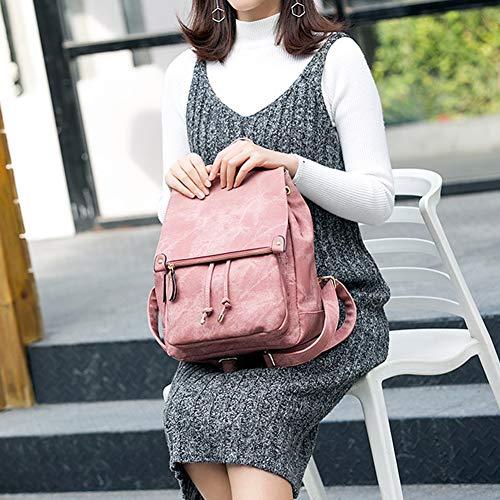 Elegante Lady Semplice Pelle Viaggio Borsa Tracolla Da Pink Grande brown Capacità Zhmxhm Zaino Morbida In A 5RqOUw