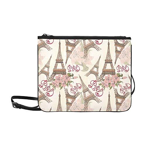 Over Clutch Beaded Fold (Paris Eiffel Tower Floral Flower Pattern Pattern Custom High-grade Nylon Slim Clutch Bag Cross-body Bag Shoulder Bag)