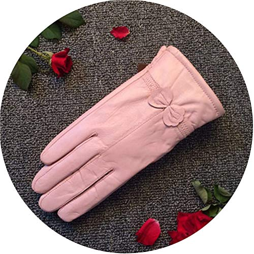 - Cashmere Gloves Keep Warm Mittens Leather Fashion Winter Gloves Sheepskin Bow Guante Electric Glove,Gouache,L