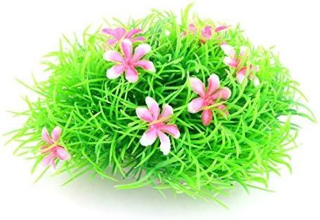 eDealMax cerámica plástico Base agua de acuario decoración de la hierba Planta 5 cm Altura Rosa Verde