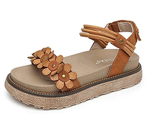 Zarbrina Flat Heel Platform Sandals for Girls Womens Fashion Floral Decor Thick-Soled Anti Skid Beach Wear ()