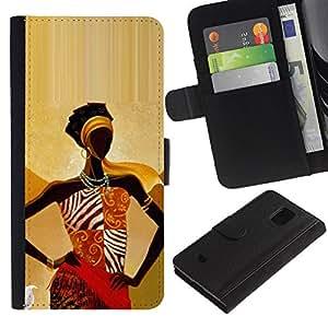 LASTONE PHONE CASE / Lujo Billetera de Cuero Caso del tirón Titular de la tarjeta Flip Carcasa Funda para Samsung Galaxy S5 Mini, SM-G800, NOT S5 REGULAR! / black queen gold goddess woman lady
