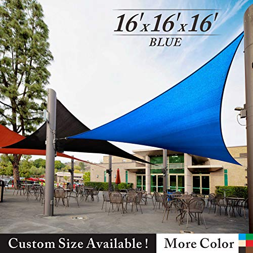 Royal Shade 16' x 16' x 16' Blue Triangle Sun Shade Sail Canopy Outdoor Patio Fabric Shelter Cloth Screen Awning - 95% UV Protection, 200 GSM, Heavy Duty, 5 Years Warranty, We Make Custom Size