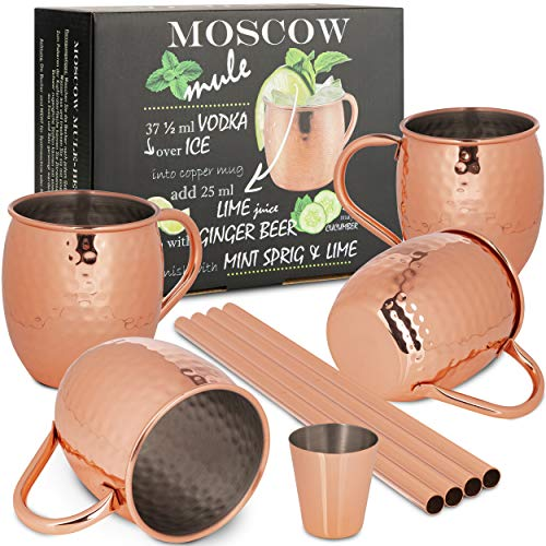 ONVAYA® Moscow Mule Bekerset met 4 bekers, barmaat en rietje, koperen bekers voor cocktails, 4 koperen mokken met 480 ml…