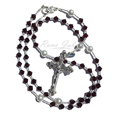 Rana Jabero Garnet (January Birthstone) Swarovski Crystal and Pearl Catholic Rosary