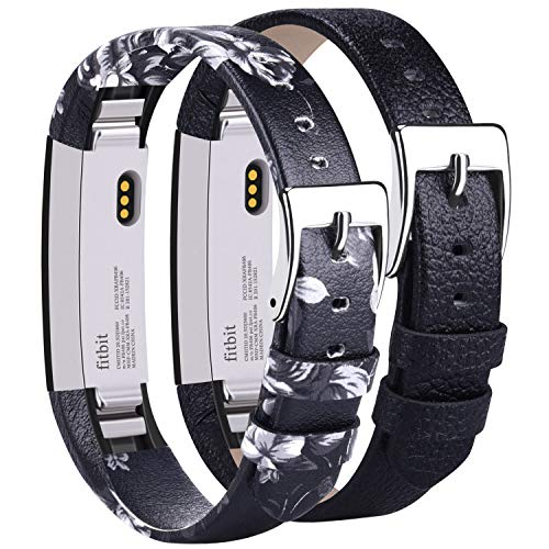 (Vancle Leather Bands Compatible with Fitbit Alta/Fitbit Alta HR for Women Men, Adjustable Replacement Accessories Strap with Buckle for Fitbit Alta and Fitbit Alta HR (#.Floral Gray+Black))