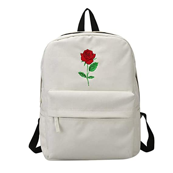 Amazon.com | Men Canvas Heart Backpack Women Rose Embroidery Backpacks Teenagers School Bags Mochilas Travel Bags B01 | Backpacks
