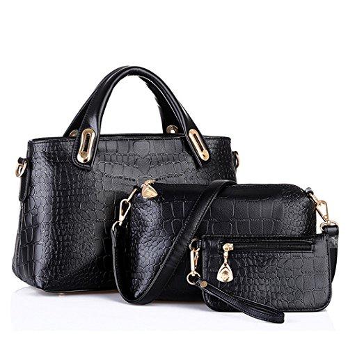 5af61236130e4 Women Faux Leather Weave Handbag Purse Bag Set 3 Pieces Tote Bag Set Shoulder  Bags Big