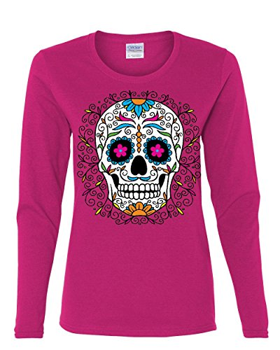 Floral Sugar Skull Day of The Dead Long Sleeve T-Shirt Calavera Pink L (Day Of The Dead Long Sleeve T Shirts)