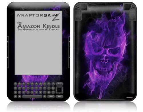 Flaming Fire Skull Purple - Decal Style Skin fits Amazon Kindle 3 Keyboard (with 6 inch display)