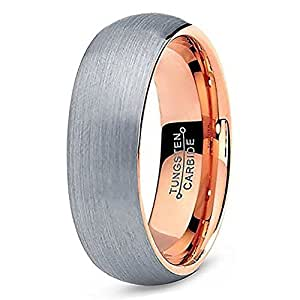 [EnvyJ] 7mm 18K Rose Gold Plated Tungsten Carbide Domed Brushed Men's Women Wedding Band Ring in Comfort Fit Finish Fit Size 5-16 w/ velvet ring box (6.5)