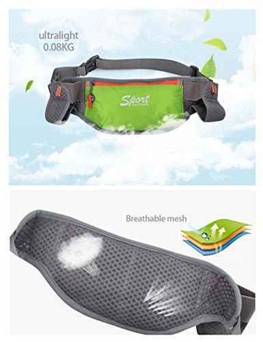 Douguyan Sport Trinkgürtel Bauchtasche Gürteltasche Hüfttasche Laufgürtel für Handys unter 6 Zoll Pockets Waistpacks mit Reflektorstreifen und Kopfhörerloch für Outdoor Sport Herren Damen 312 Grün 310-grün