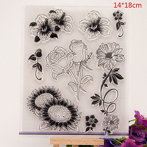 Shoresu Flower Clear Stamps Sheets Transparent Silicone Seal for DIY Scrapbooking Craft Card Photo Album Decorative 14x18cm/5.51x7.08