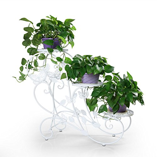 Ivy Stand (Funmall 3-Tiered Plant and Flower Stand Plant Flower Pot Rack with Classic Design,White)