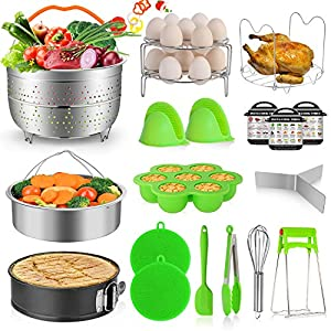 MIBOTE 19PCS Pressure Cooker Accessories Set fits Instant Pot 5,6,8 Qt, Steamer Baskets, Springform Pan, Egg Steamer Rack, Egg Bites Mold, Kitchen Tong, Silicone Pad, Oven Mitts, Cheat Sheet Magnet