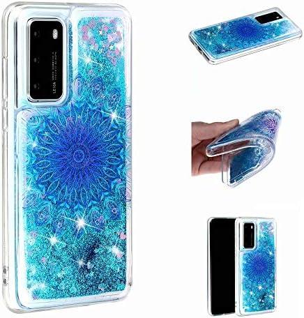 Miagon Flüssig Hülle für Huawei P40 Pro,Glitzer Weich Treibsand Handyhülle Glitter Quicksand Silikon TPU Bumper Schutzhülle Case Cover-Blau Totem Blume
