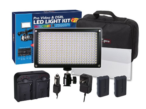 312 LED Light Pro Video and DSRL Varicolor Kit For Nikon DF, D90, D3000, D3200, D3300, D5000, D5100, D5200, D5300, D5500, D7000, D7100, D7200, D300, D300s, D600, D610, D700, D750, D800, D800e, D810, D810A Digital SLR Camera by Big Mike's
