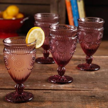 The Pioneer Woman Adeline Embossed 12-Ounce Footed Glass Goblets, Set of 4 (Footed Goblet)