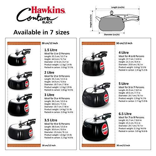 Hawkins CB30 Hard Anodised Pressure Cooker, 3-Liter, Contura Black by Hawkins (Image #5)