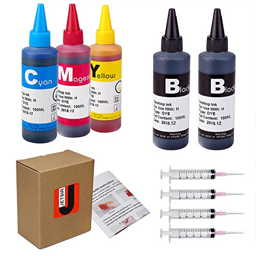 JetSir 4 Color Compatible Ink kit Refill for HP 950 951 60 61 952 902 901 62 63 21 22 920 940 934 564 932 933 711 970 971 92 94 95 96 97 ect Cartridge (2 Black 1 Cyan 1 Magenta 1 Yellow) 100ML x5 ()