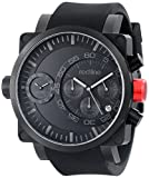 red line Men's RL-50048-BB-01-BK Dual Timer Chronograph Black Dial Black Silicone Watch