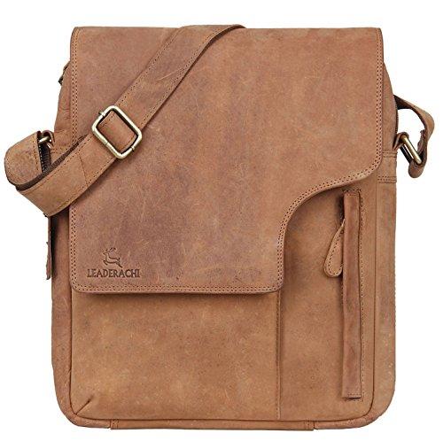 - Leaderachi - 100% Pure Genuine Real Vintage Hunter Buffalo Leather Handmade Men Crossover Shoulder Messenger Bag [