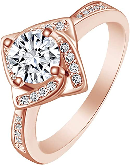 AFFY Simulated Brown /& White Cubic Zirconia Engagement Ring in 14k Gold Over Sterling Silver