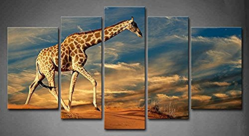 5 Panel Wall Art Giraffe Walking On A Sand Dune With Clouds South Africa Painting The Picture Print On Canvas Animal Pictures piece Ready To - Pictures Africa South