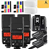 Godox V350F TTL 2.4G 3X Camera Flash with Built-in Rechargeable 7.2V/2000mAh Li-ion Batter,Godox X1T-F Flash Trigger for For Fuji Camera