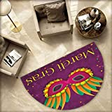 Mardi Gras Semicircular Cushion Festival Mask Design on Purple Backdrop with Stars and Colorful Dots Entry Door Mat H 55.1'' xD 82.6'' Purple Orange Green
