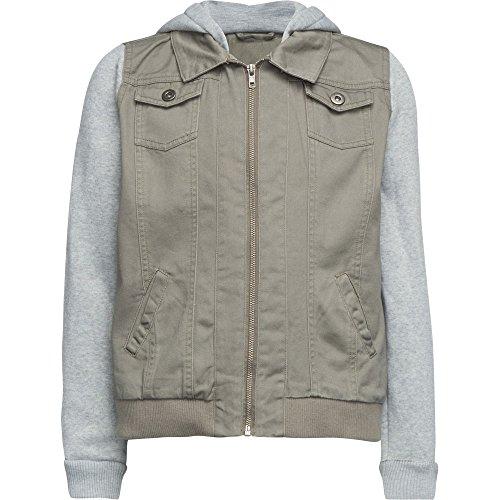 FULL TILT Twill Hooded Girls Jacket, Olive Combo, X-Large