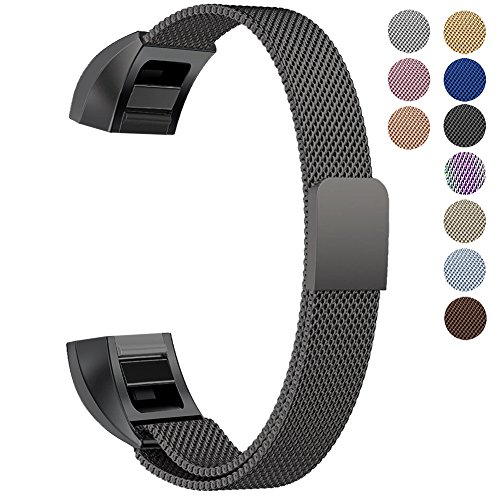 Oitom Fitbit Alta HR Accessory Band and Fitbit alta Band, (2 Size) Large 6.7'-9.3' Small 5.1'-6.7' (8 Color) Silver Black Rose Gold Pink Blue Brown Rainbow (Small 5.1'-6.7' Black)