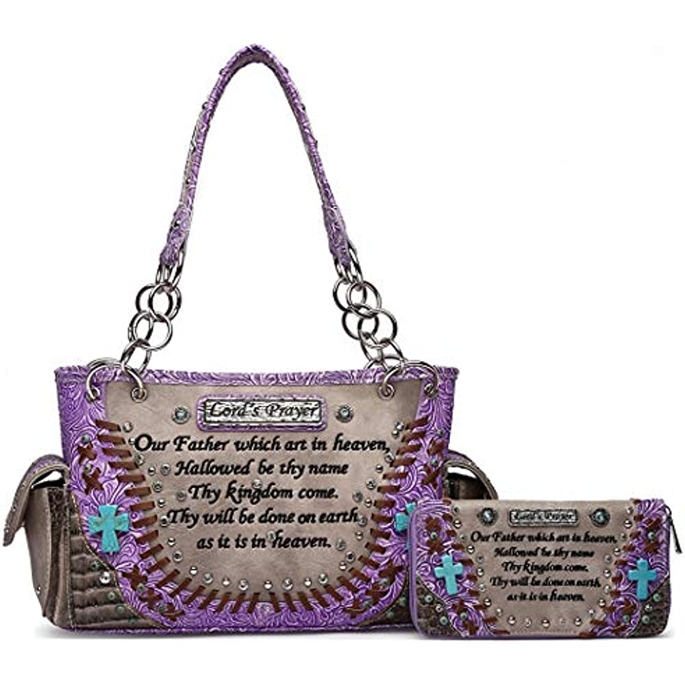 Details about Embroidered Women Bible Verse Tooled Leather Concealed Carry  Purse Totes Handbag
