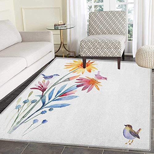 Watercolor Area Rug Carpet Springtime Flowers with Birds Unusual Color Scheme Brush Effect Living Dining Room Bedroom Hallway Office Carpet 5'x6' Slate Blue Amber Levander