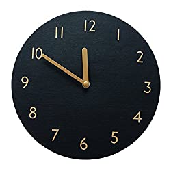 Decorative Wall Clock Silent & Non-Ticking Quartz Clock PU Leather Lightweight 0.4lb Round 9 (Black)