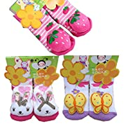 BW Rattle Socks Anti Slip With Grips For Infant Toddler Girls Winter Warm 3 Pairs