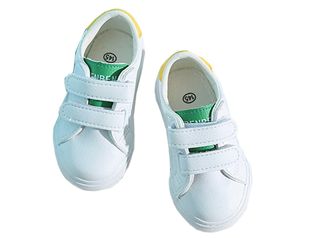 iDuoDuo Boys Girls Fashion Contrast Color Hook and Loop Flat Walking Sport Shoes Toddler//Little Kid
