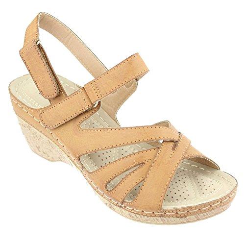 compensé Taille Comfort Aarz femmes Camel Camel Parti Chaussures Casual léger Noir talon Mesdames Soirée Sandales Wt0PqAaw0