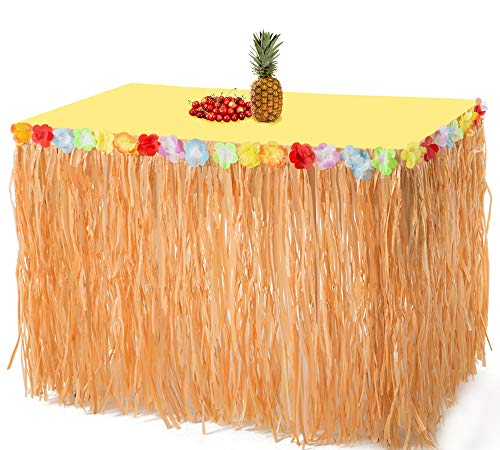 2PCS Luau Hawaiian Grass Table Skirt Decorations - Hula Hibiscus Tropical Birthday Summer Pool Party Supplies ()
