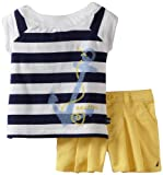 Nautica Baby-girls Infant 2 Piece Set with Boat Neck Top, Medium Navy, 18 Months image