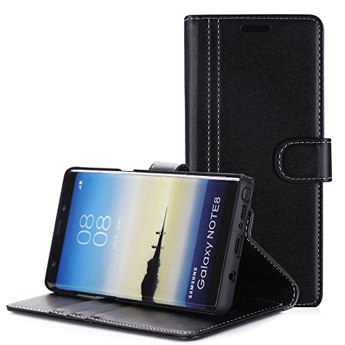 ProCase Galaxy Note 8 Case, Folio Folding Wallet Case with Flip Cover and Stand, Credit Card Slots and Kickstand Protective Case for Samsung Galaxy Note 8 2017 -Black