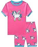 Little Girls Short Pajamas Unicorn Snug Fit Cotton Toddler Pjs Summer Clothes Shirts 3T