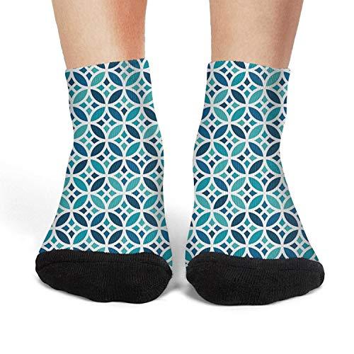 Women's Athletic Crew Socks Blue Mosaic Lattice sport Socks